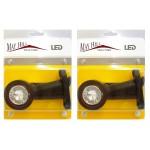 One Pair of LED Side Marker Lights Red/White 12/24V