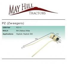 1 x Haytine - Tedder Replacement for PZ Zweeger Haybob Tine RH (Yellow) Wide
