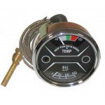 Nuffield 10/60 Tractor Oil & Temperature Gauge - Black Face