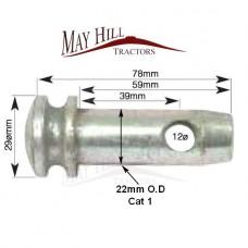 "Lower Link Pin (Cat. 1) • Pin Ø: 7/8"".• Working Length: 39mm.• Length: 78mm."